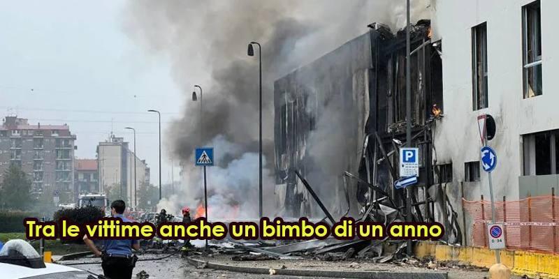 Tra le vittime dell'aereo caduto a Milano c'è anche un bimbo di un anno
